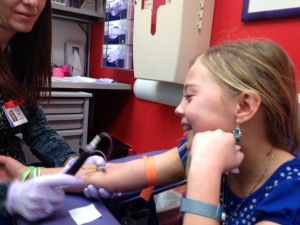 Morgan getting her blood tested