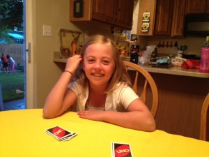 Enjoying UNO with Morgan